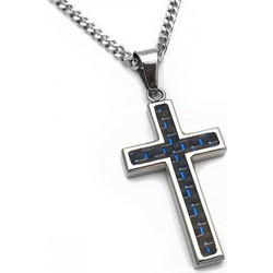 b904a66af0 Ανδρικός σταυρός με μαύρο μπλε σχέδιο και αλυσίδα