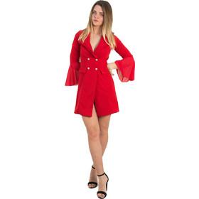 d32056d8f12 Γυναικείο κόκκινο φόρεμα σακάκι χρυσά κουμπιά 768610Y