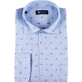 ea87286e8fea Dur Ανδρικό πουκάμισο λινό fil coupe - 11020577 - Γαλάζιο