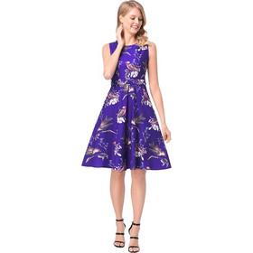 70b9c2fdadd9 2018 Spring European New Style Female Sleeveless Retro Dress Birds Pattern  Printed A-line Skirt