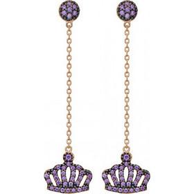 Σκουλαρίκια κρεμαστά Vogue ροζ χρυσό ασήμι 925 με κορώνα 986128.2 272d27821f2