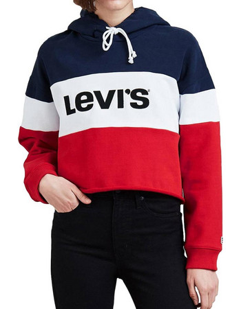 LEVIS RAW CUT CROPPED COLORBLOCK HOODIE PEACOAT WHITE 59322-0000 45dcf1f5353