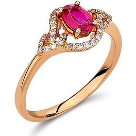 Δαχτυλίδι από ροζ χρυσό 18 καρατίων με ρουμπίνι στο κέντρο και διαμάντια  περιμετρικά. KV27284 7cb87749827