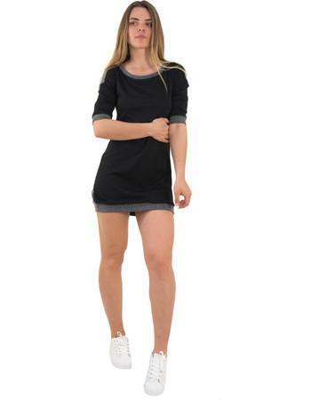 Γυναικείο μαύρο φόρεμα με ζακάρ σχέδιο κοντό μανίκι 91098G 26291dcd581