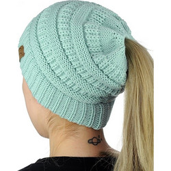 f0dd1bccd4d2 CC Letter Ponytail Cap Knitting Hat for Ladies(Baby Blue) SK616665