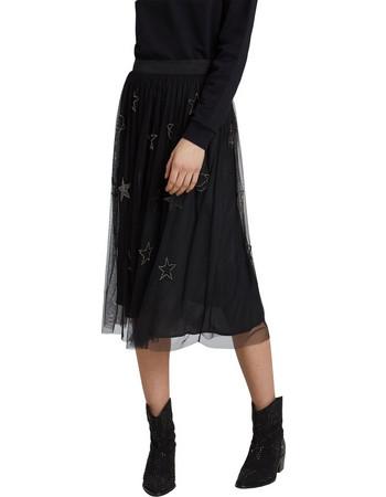 Trussardi Jeans γυναικεία τούλινη φούστα με κέντημα - 56G00072-1T001511 -  Μαύρο a6448449c01