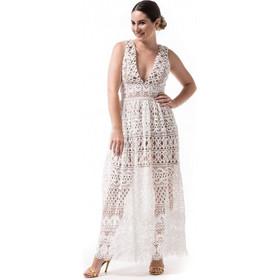 69ff9b184b27 Λευκό Μακρύ Φόρεμα Με Δαντέλα Κιπούρ