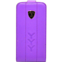 Apple iPhone 4/4S - Θήκη Flip Δέρμα Lamborghini Performante-D1 Μώβ (Lamborghini)