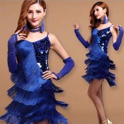 6b41a049f482 Γυναικεία Latin Στολή χορού με κρόσσια L08 7708