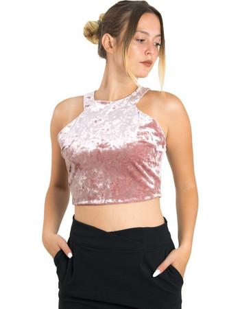 Γυναικείο Velvet τοπ Cocktail ροζ 013907005W 316272fa934