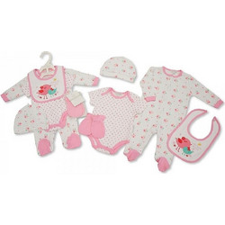 b2292941ba9 Αγγλικό Σετ Δώρου 100% cotton, 5 τεμαχίων - της Nursery time GP0760 rosa  nursery