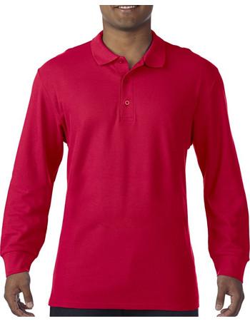 Ανδρική Μακρυμάνικη Double Pique Μπλούζα Polo Premium Gildan 85900 - Red 3c0022b10fc