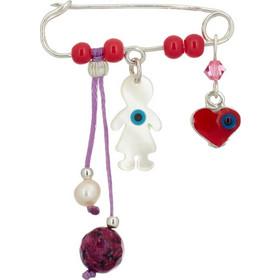 Παιδική ασημένια παραμάνα με κορίτσι και καρδιά - ASPM002R - Ροζ 97b81c3f2d0