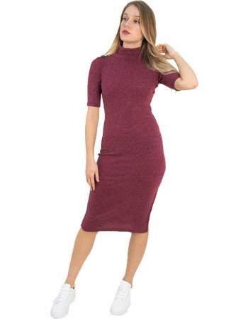 Γυναικείο μπορντό ριπ μάλλινο φόρεμα Cocktail 014100072L 56ba618d147
