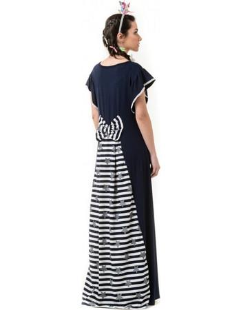 Μπλε Μακρύ Φόρεμα με Ουρά   Φιόγκο Ριγέ 93c91d06af5