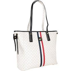 d0a438c5a8 Τσάντα Ώμου Με Ρίγα La Tour Eiffel Logo-Δέρμα 151006 Λευκή-Μαύρη