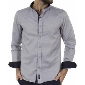 9e2b1de73642 Ανδρικό Μάο Μακρυμάνικο Πουκάμισο Slim Fit CND Shirts 3550-6 Γκρι