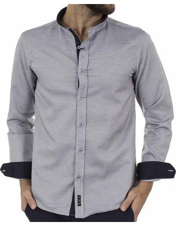 b0aebb63b904 Ανδρικό Μάο Μακρυμάνικο Πουκάμισο Slim Fit CND Shirts 3550-6 Γκρι
