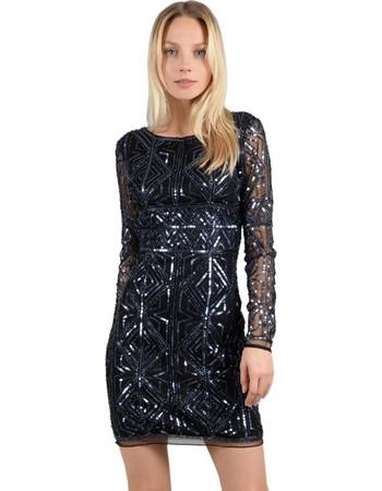 560124648b0f Molly Bracken γυναικείo μίνι φόρεμα Graphic με παγέτα - W18MB-W603 - Μπλε  Σκούρο