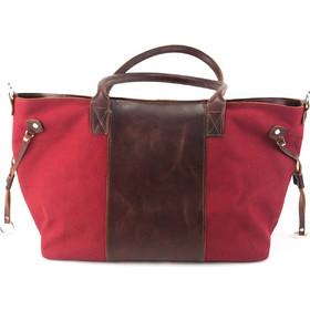 43335587f5 Δερμάτινη Τσάντα Ύφασμα και Δέρμα Κούρος Model 9 Χρώμα Καφέ - Κόκκινο