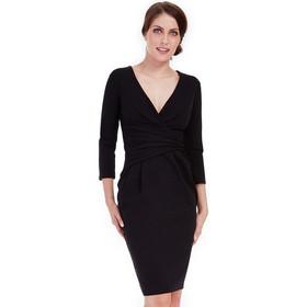 bda75522bc74 9183 GB Μίντι φόρεμα με V - μαύρο