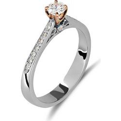 Μονόπετρο δαχτυλίδι από λευκό και ροζ χρυσό 18 καρατίων με ένα κεντρικό  διαμάντι 0.32ct και c992eec8715