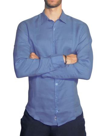 Ανδρικό λινό πουκάμισο CLASIC - Ανοιχτό μπλέ 872a37514e4