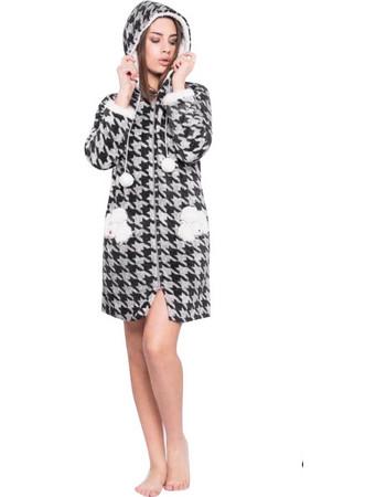 Ρόμπα γυναικεία χειμωνιάτικη με κουκούλα Μαύρο με γκρι Pied de poule  PIGIAMIAMOCI PIGIAMIAMOCI 76c07ebbcbc