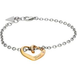Guess USB11213 Γυναικείο Κόσμημα Κολιέ 20cm από Ανοξείδωτο Ατσάλι με Ασημί  αλυσίδα και Χρυσό Χρώμα Καρδιά dadd524d989