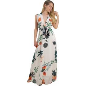 d80d52c7c4b Γυναικείο μάξι φόρεμα εμπριμέ μπεζ άνοιγμα στήθος πλατη 8214318Q