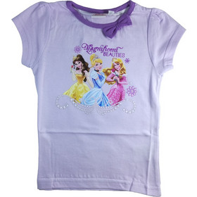 87a97e155d4 Disney 32127 Παιδικό Κοριτσίστικο Κοντομάνικο Μπλουζάκι Princesses με  Λαιμόκοψη σε Ανοιχτό Μωβ χρώμα - Disney
