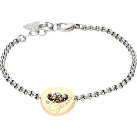 Guess USB11207 Γυναικείο Κόσμημα Κολιέ 20cm από Ανοξείδωτο Ατσάλι με Ασημί  αλυσίδα και Ροζ Χρυσό Κύκλο 1923b098beb