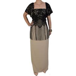 b94cb0e7b109 Φόρεμα Maxi Με Δαντέλα Forel 505012 Μπεζ Μαύρο forel 505012 mpez