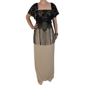 6727b353739f Φόρεμα Maxi Με Δαντέλα Forel 505012 Μπεζ Μαύρο forel 505012 mpez