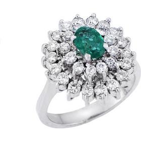 Δαχτυλίδι Ροζέτα Λευκόχρυσο 18 με Διαμάντια και Σμαράγδι d3dc7b7effa