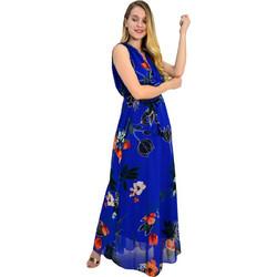 8ba745d4d66 Γυναικείο μάξι φόρεμα εμπριμέ μπλε άνοιγμα στήθος πλατη 8214318F