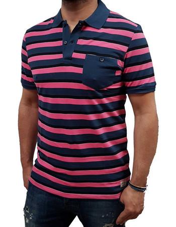 Jack Jones - 12139690 - Jorstripe Polo ss - Hot Pink Stripes -Slim Fit -  Μπλούζα 6b7a5a93562
