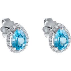 Σκουλαρίκια από λευκό χρυσό 18 καρατίων σε σχήμα δάκρυ με μπλε τοπάζι στο  κέντρο και διαμάντια 84e130aa53a