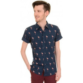 0037cd78623c Run   Fly - Flamingo Mens Short Sleeve Slim Fit Shirt
