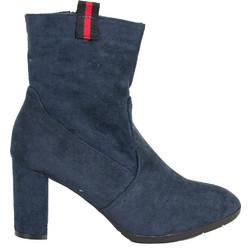 085ad8da37e Γυναικεία μπλε σουέντ μποτάκια με χοντρό τακούνι JN3302