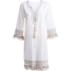 98686e39ed3e Γυναικείο βαμβακερό φόρεμα εκρού με πλεκτή δαντέλα