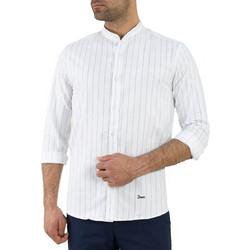 01d44bdd7c1a Ανδρικό λευκό ριγέ πουκάμισο μάο γιακά Ben Tailor 111311