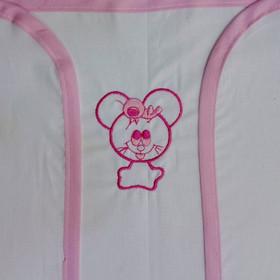 Πάνα αγκαλιάς χασέ λευκή με κέντημα ροζ ποντικάκι 27aefe48616