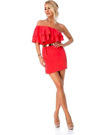 9016ba6bd882 9272 RO Μίνι φόρεμα με έναν ώμο βολάν και ζώνη - Κόκκινο Κοραλί