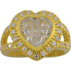 Δαχτυλίδι Vogue χρυσό ασήμι 925 καρδιά με λευκά ζιργκόν και κρύσταλλα  127087.2 4f7fe9ab54a