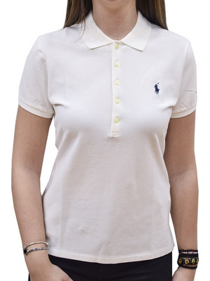 POLO RALPH LAUREN JULIE POLO SS KNT WHITE