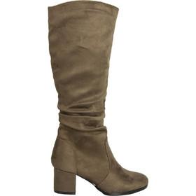 Γυναικείες καφέ σουέντ μπότες χοντρό τακούνι HXH055 69a7532b253