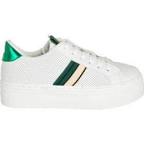 Γυναικεία λευκά πράσινο δίπατα Sneakers κορδόνια B0238L 36441d2ee52