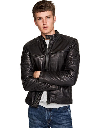 Pepe Jeans Biker Leather Jacket Keith PM401905-999 56875f51dab
