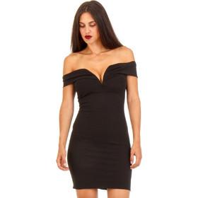 b4f7f9ef8f2a Μαύρο Εφαρμοστό Off Shoulder Φόρεμα Μαύρο Silia D